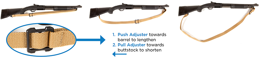 Adjusting length of sling for desired carry instructions