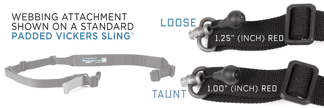 Size comparison of RED 1-inch and 2-inch for sling webbing hardware attachment