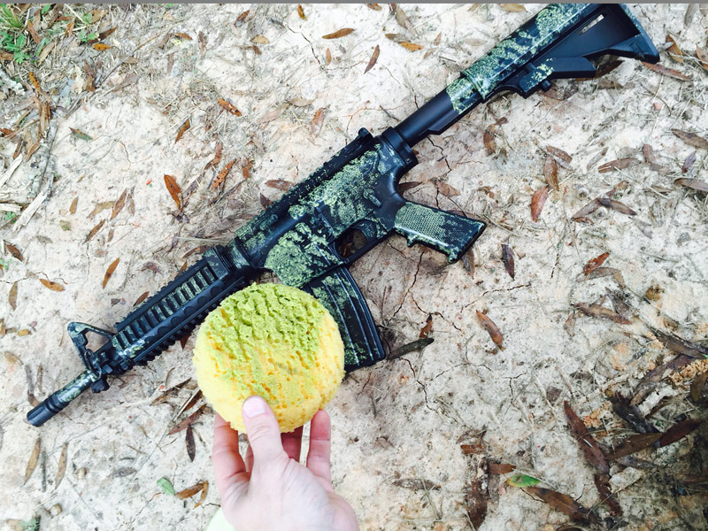 gear how to camo your rifle with a sponge the truth about guns. Black Bedroom Furniture Sets. Home Design Ideas